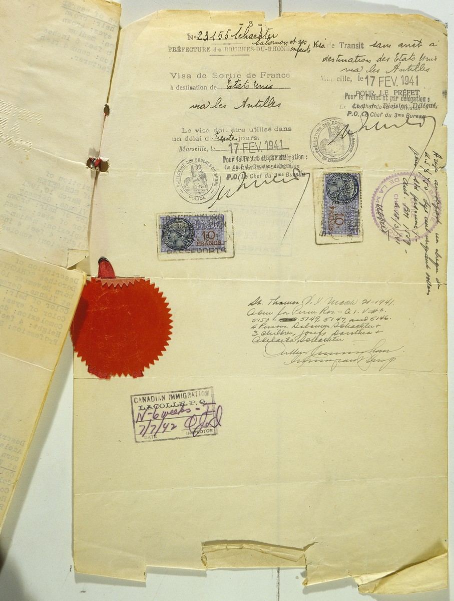 Affidavit in lieu of passport issued to Jewish refugee Salomon Schachter and his family by Hiram Bingham, Vice Consul at the US consulate in Marseilles.