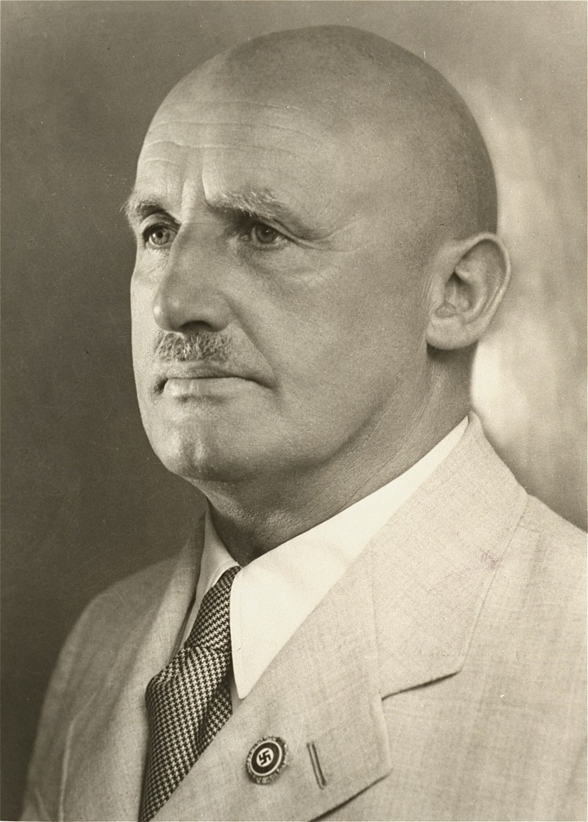 Portrait of Julius Streicher wearing his Nazi party pin.