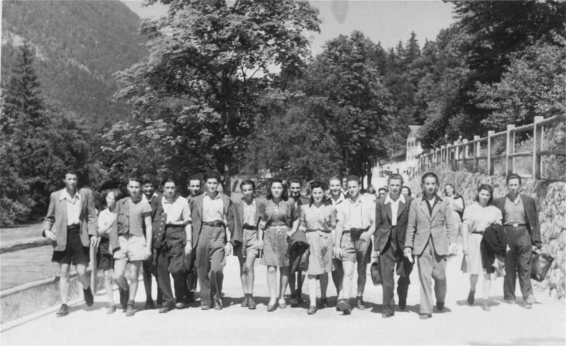 DP youth from the International Children's Center at Prien am Chiemsee on an outing.  Ely Ellbogen is on the far left.  Sam Mayer is also pictured.  David Yeger (from Rona De Sus, Romania. liberated from Flossenburg) is pictured in the front row, third from the left.