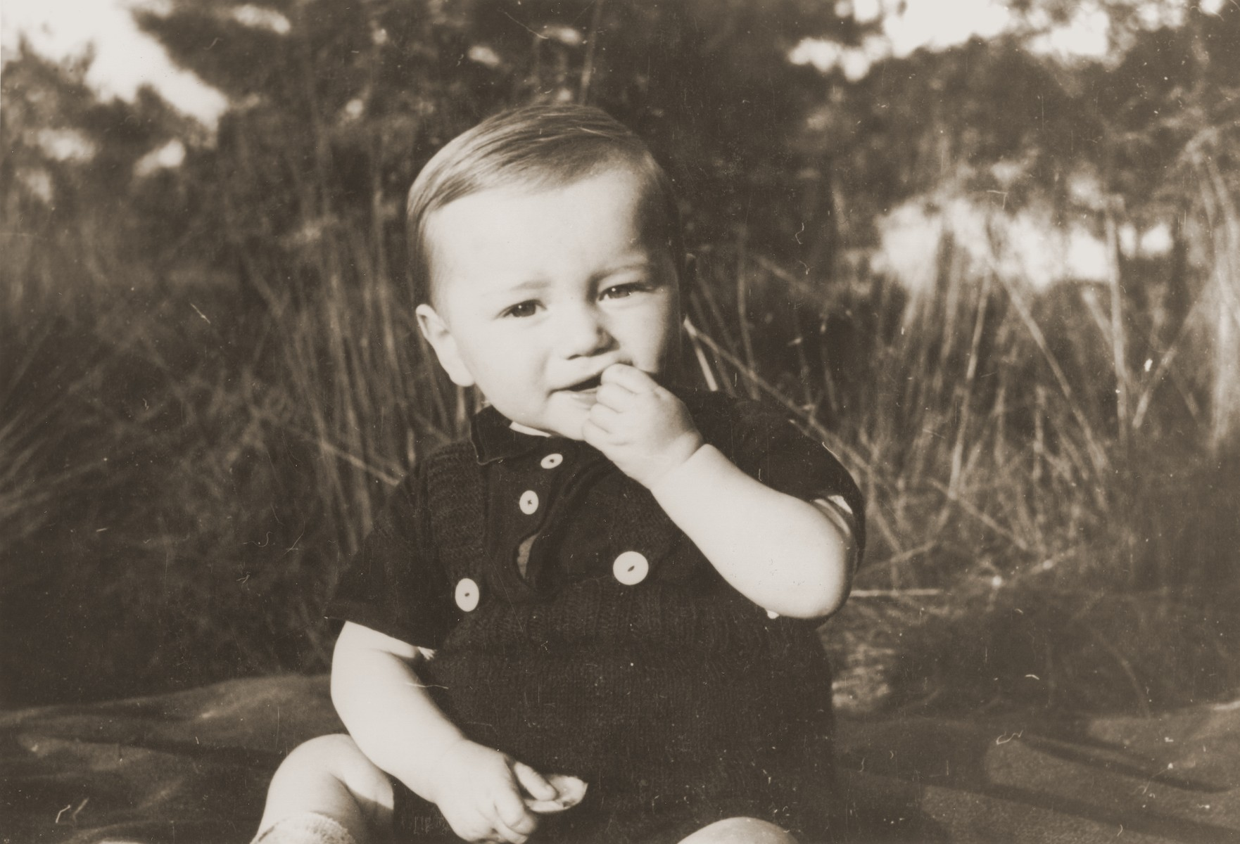 Two-year-old Manfred Stern sits in a field.