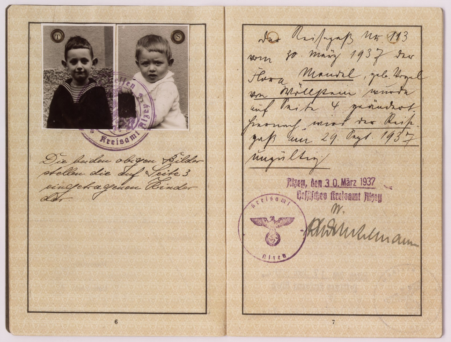 A page of a German passport issued to Flora Mendel.  Pictured are Flora's two young sons, Ernst and Werner.  Flora and her sons immigrated to the United States in June 1937.