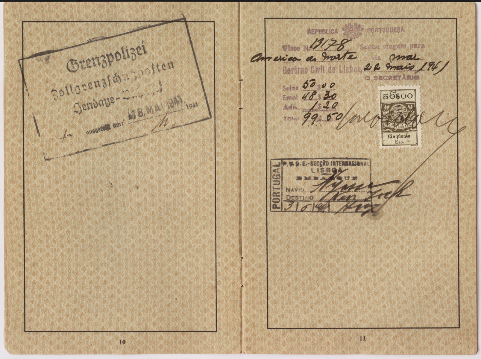 "Passport issued to Frida Felicie Perl in February, 1939.  It is stamped with a red ""J"" and includes the middle name Sara in order to identify the owner as Jewish.  Ernst used this passport to flee Germany and eventually make his way to the United States.  Ellinor (now Eleanor) and Evelyn Perl, twin sisters, were born in Berlin in 1938 to Ernst and Frieda (nee Heimann) Perl.  The family fled to Lisbon via Paris and succeeded in sailing to the United States on board the SS Nyassa on May 25, 1941.  They settled in New York where the girls attended a pre-school for Jewish refugee children."