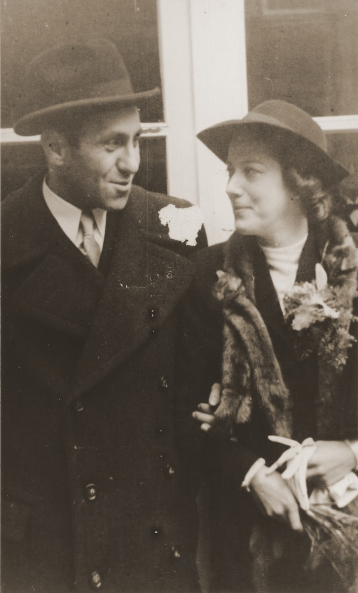 Wedding of Inge and Max Heimann.  Max Heimann was the brother of Frieda Perl.  He was sent to Westerbork and then to Auschwitz where he perished.  Inge survived incarceration in Auschwitz, and their daughter Suzyn survived in hiding in an institution in Amsterdam.