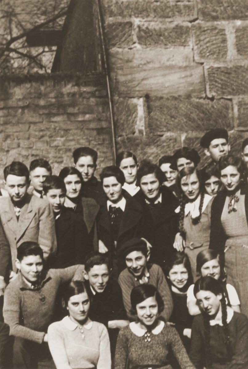 Group portrait of students at the Juedische Realschule [Jewish high school] in Fuerth.