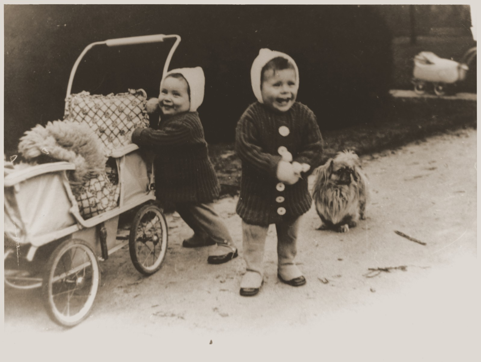 Two year old twins Ellinor (now Eleanor Gerson) and Evelyn Perl (now Evelyn Pearl) at home in Berlin shortly before the family fled Germany.