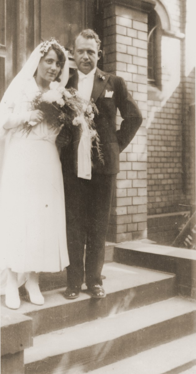 Wedding portrait of Alfred and Gerda (Vogel) Marx in Wollstein, Germany.  The bride is the first cousin of the donor, Werner Mendel.