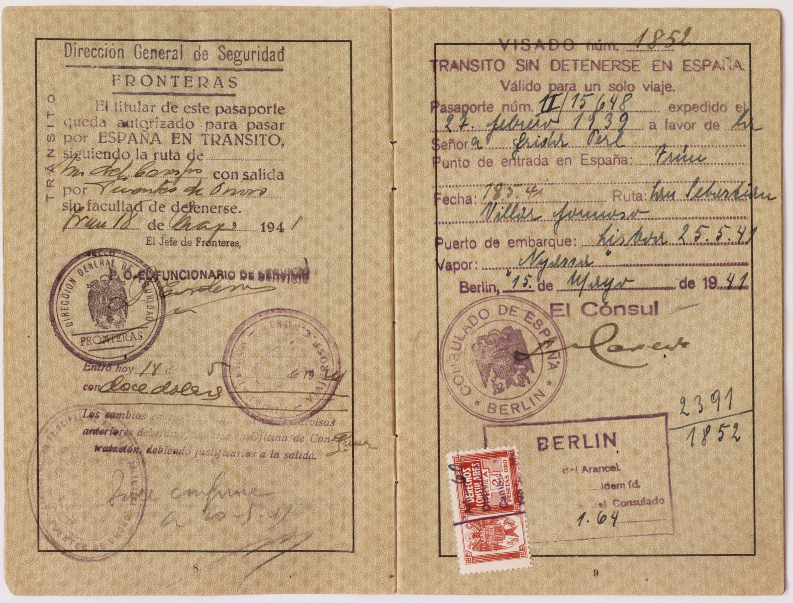 """Passport issued to Frida Felicie Perl in February, 1939.  It is stamped with a red """"J"""" and includes the middle name Sara in order to identify the owner as Jewish.  Ernst used this passport to flee Germany and eventually make his way to the United States.  Ellinor (now Eleanor) and Evelyn Perl, twin sisters, were born in Berlin in 1938 to Ernst and Frieda (nee Heimann) Perl.  The family fled to Lisbon via Paris and succeeded in sailing to the United States on board the SS Nyassa on May 25, 1941.  They settled in New York where the girls attended a pre-school for Jewish refugee children."""