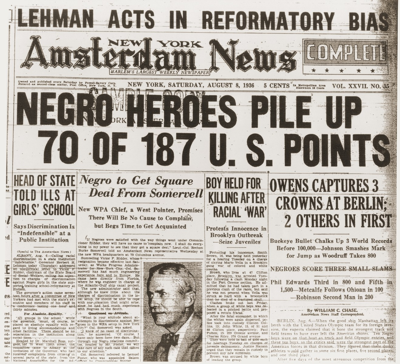 """Front page of the New York Amsterdam News, from during the 11th Summer Olympic Games, with the headline """"Negro Heroes Pile Up 70 of 187 U.S. Points.""""   The article describes victories by Jesse Owens, Cornelius Johnson, and John Woodruff, as well as second-place finishes by Ralph Metcalfe and Mack Robinson."""