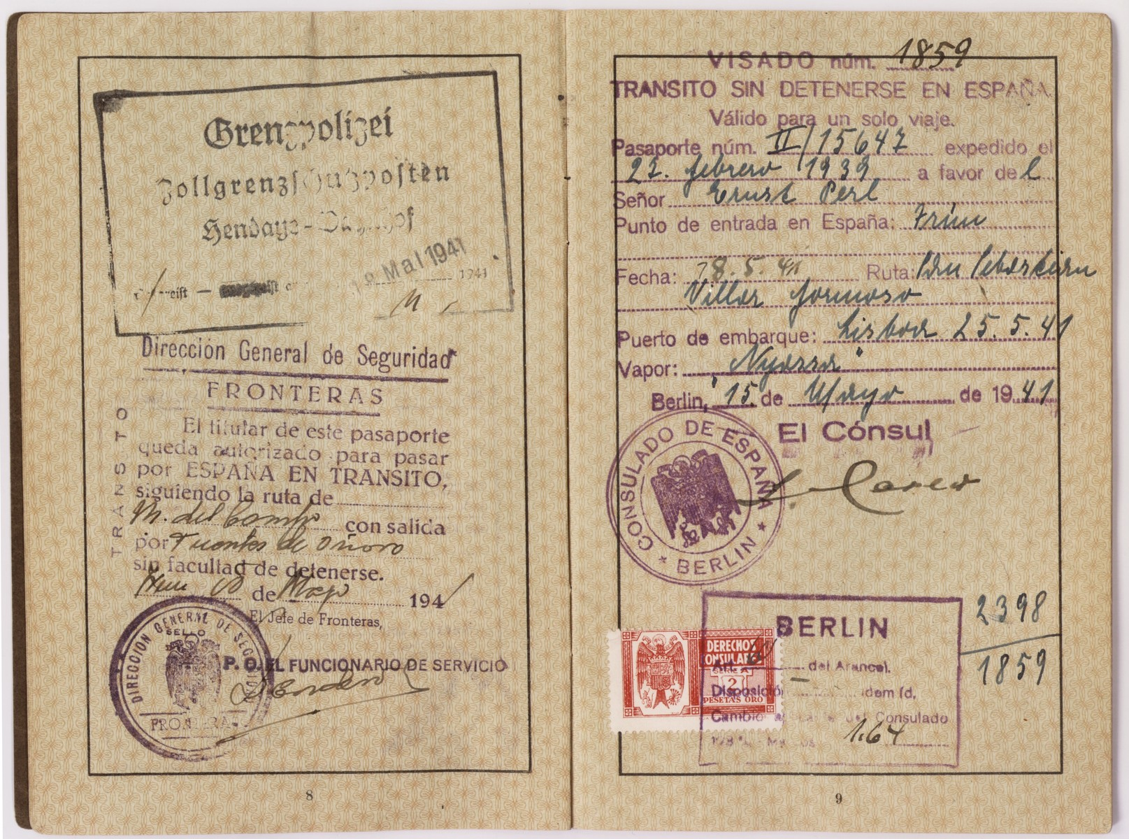 "Passport issued to Ernst Perl in February, 1939.  It is stamped with a red ""J"" and includes the middle name Israel in order to identify the owner as Jewish.  Ernst used this passport to flee Germany and eventually make his way to the United States.  Ellinor (now Eleanor) and Evelyn Perl, twin sisters, were born in Berlin in 1938 to Ernst and Frieda (nee Heimann) Perl.  The family fled to Lisbon via Paris and succeeded in sailing to the United States on board the SS Nyassa on May 25, 1941.  They settled in New York where the girls attended a pre-school for Jewish refugee children."