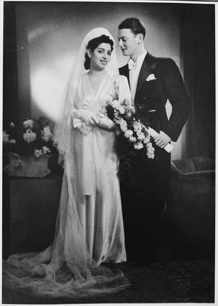 Wedding portrait of Andre Marx and Henny Petranek.