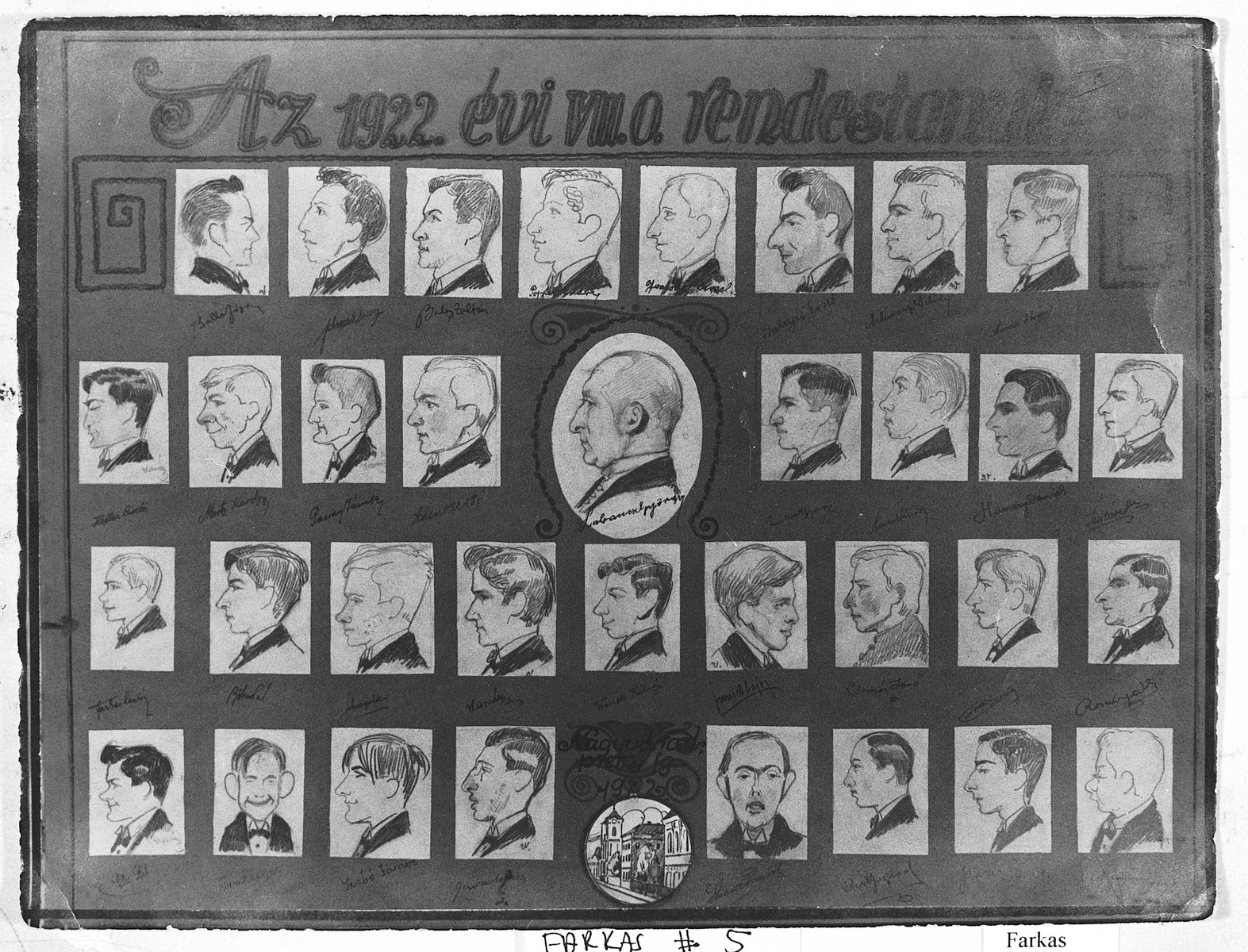 Caricature of the graduating class of the Oradea Gymnasium drawn by a student, Kalman Wavrek.  The school was directed by the Premonstratensian Order founded in France, but many of the students were Jewish.