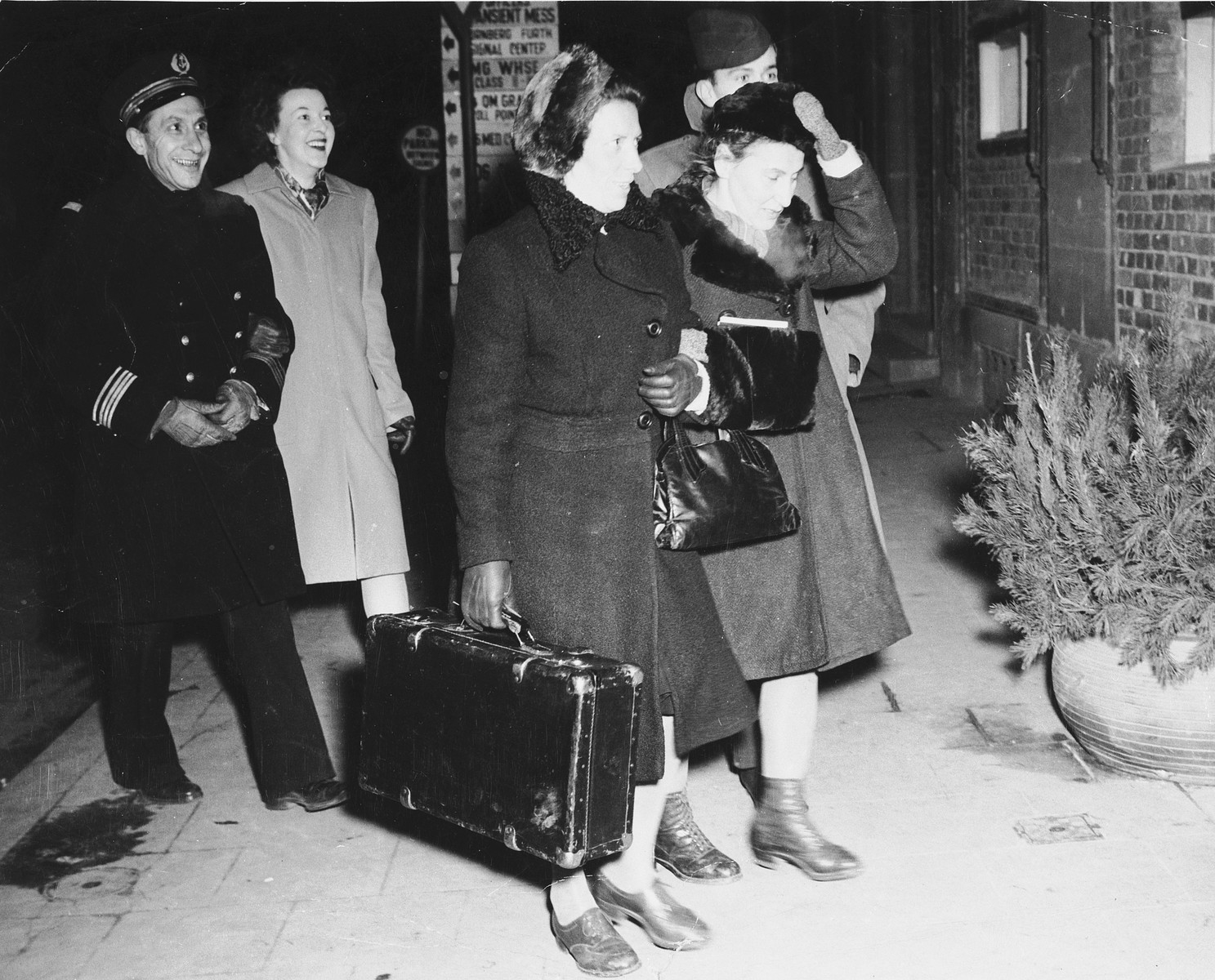 Two Polish female survivors of medical experimentation at the Ravensbrueck concentration camp arrive in Nuremberg, where they will serve as prosecution witnesses at the Medical Case trial.    Pictured are Maria Broel-Plater (left) and Jadwiga Dzido (right).