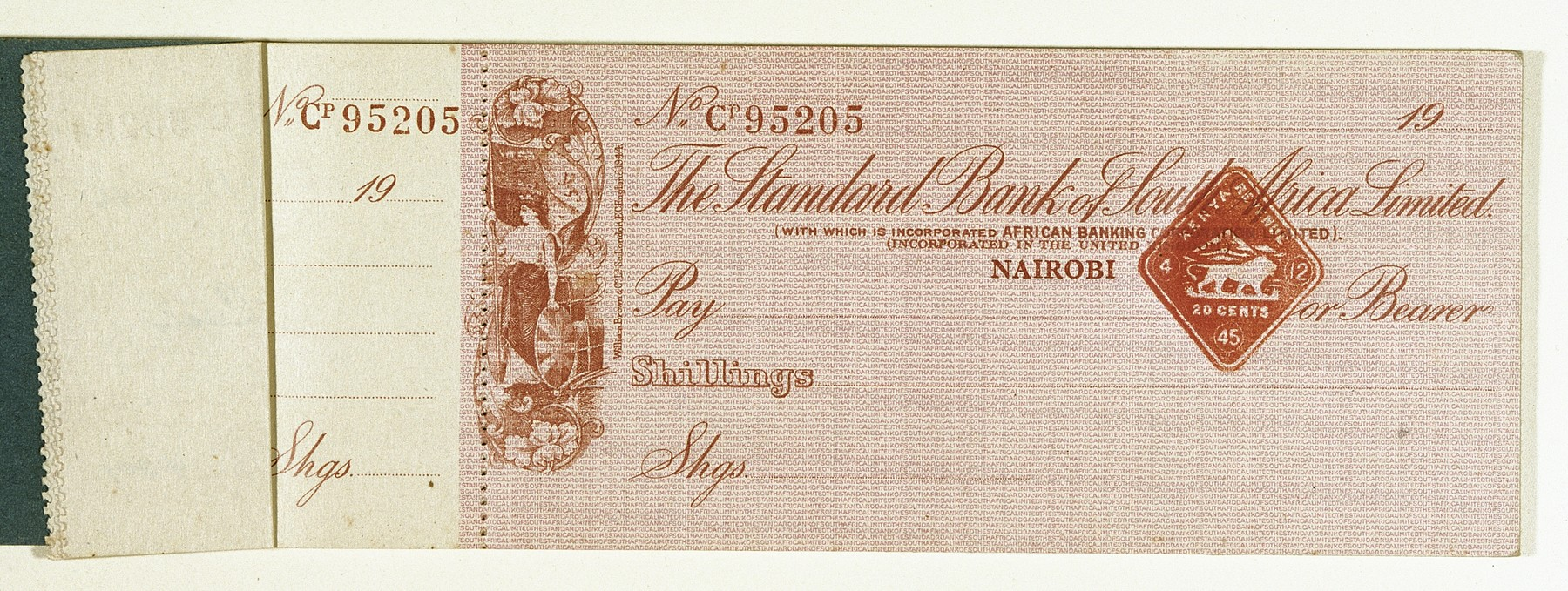 Blank check issued by the Standard Bank of South Africa in Nairobi, Kenya to the Berg family.
