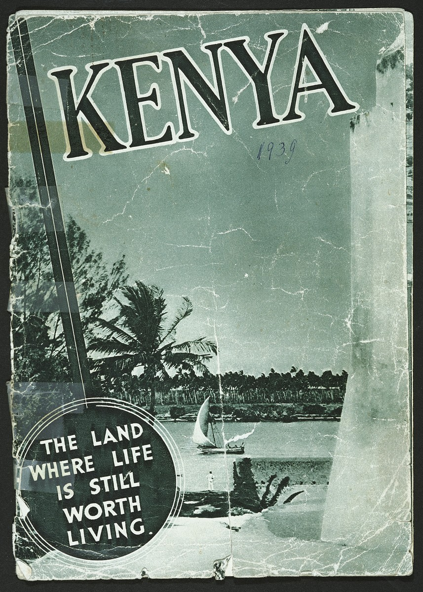 Cover to a tourist brochure for Kenya acquired by the Berg family shortly after they fled there from Germany.