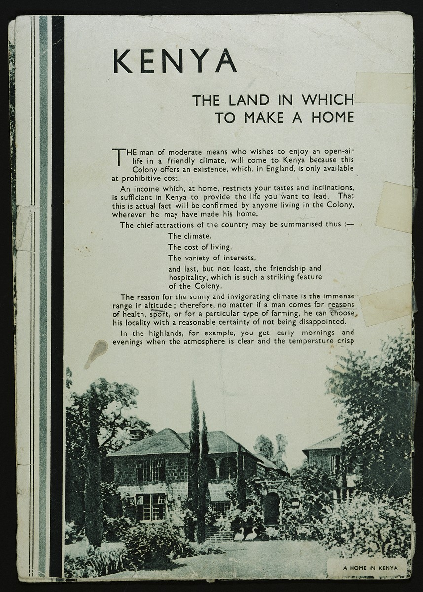 Interior page of a tourist brochure for Kenya acquired by the Berg family shortly after they fled there from Germany.
