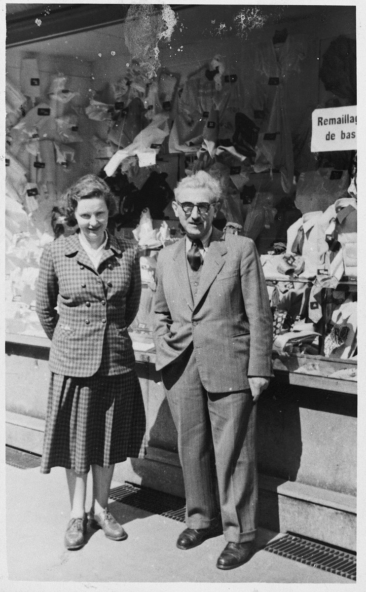 Yaakov Rubinstein and Sabina Petranek pose in front of a store in Argentina where they immigrated after the war.