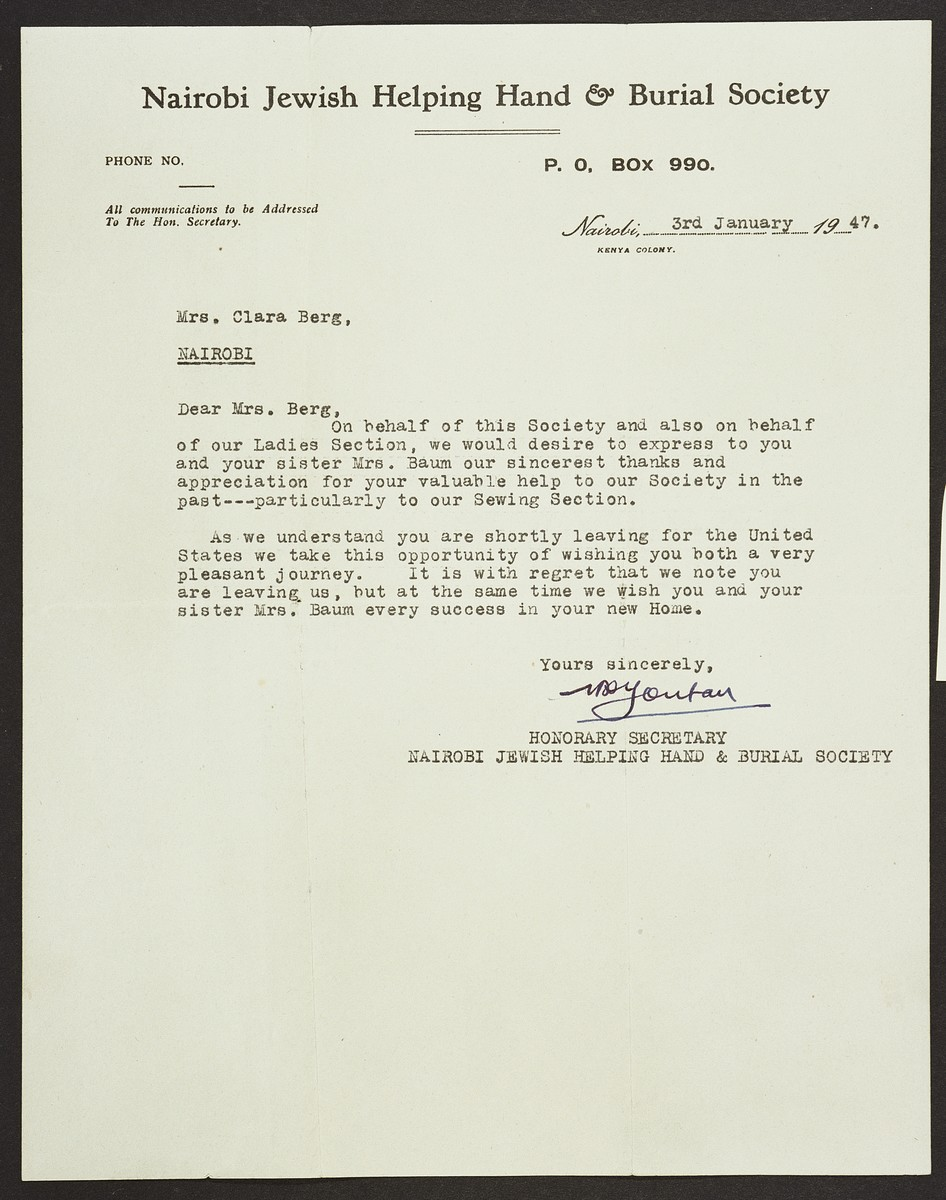 Letter from the Nairobi Jewish Helping Hand and Burial Society to Jewish refugee Clara Berg, thanking her for her work on behalf of the society and wishing her well on her impending immigration to the United States.