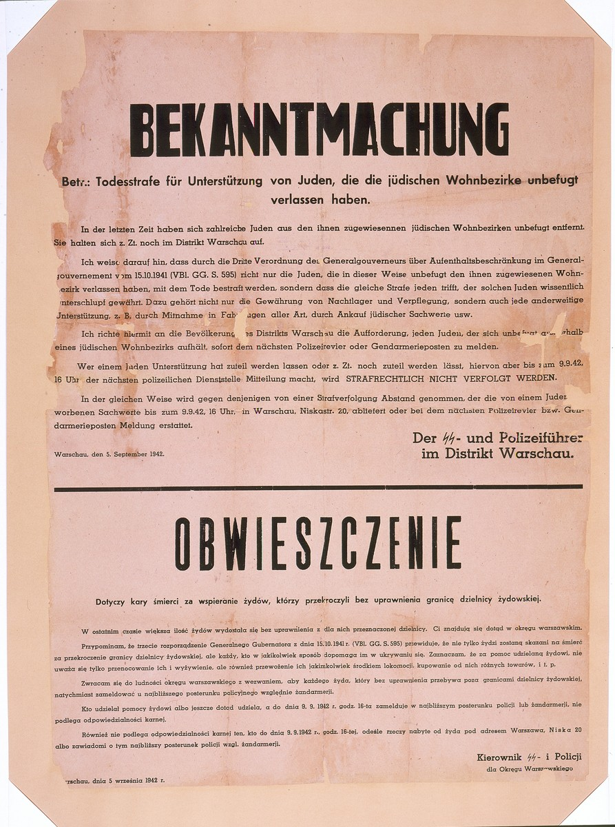 Handbill in German and Polish issued by the SS and Police leader in the Warsaw district announcing the death penalty for those who assist Jews who have left the ghetto without authorization.