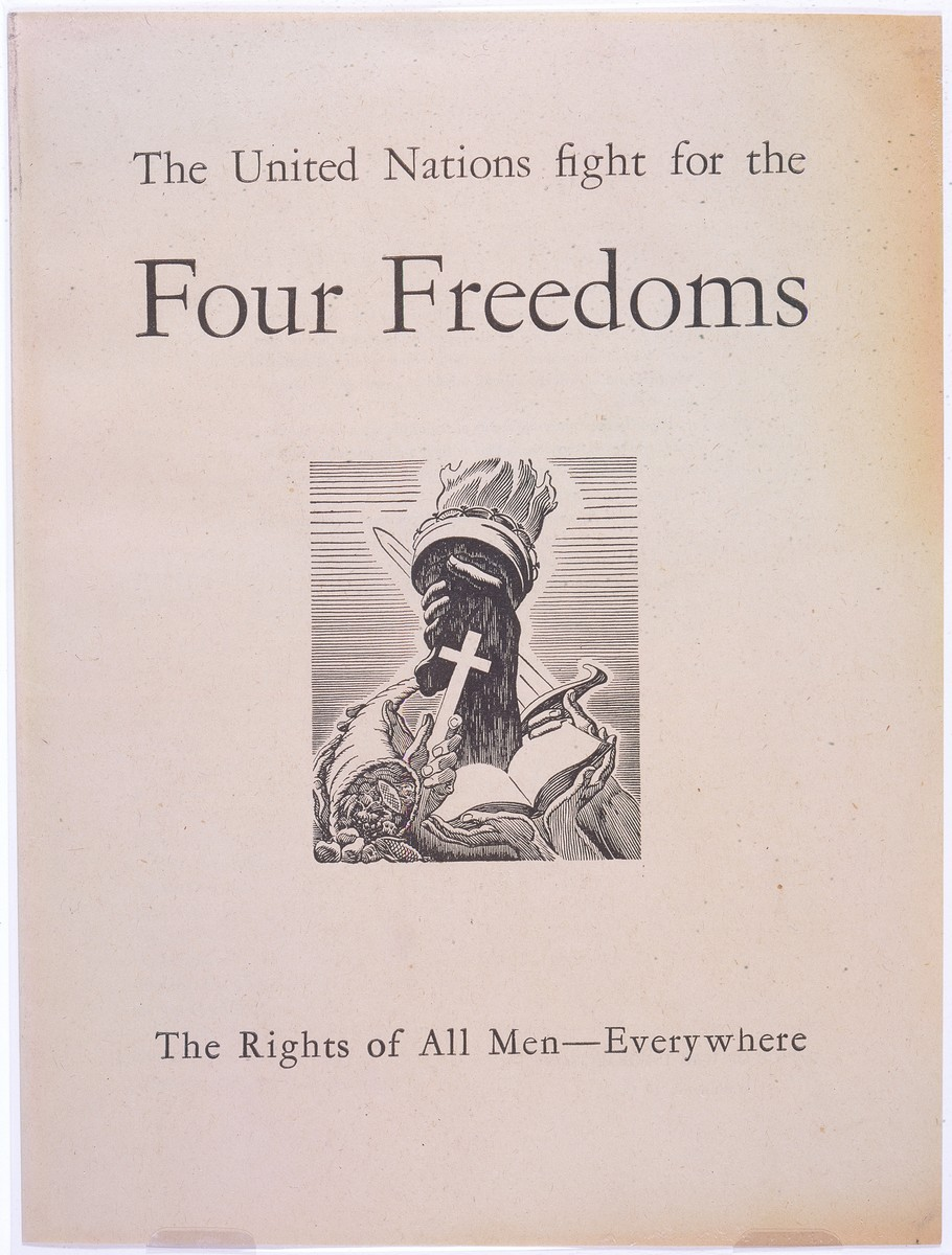 """The cover of an Office of War Information pamphlet entitled """"The United Nations fight for the Four Freedoms."""""""