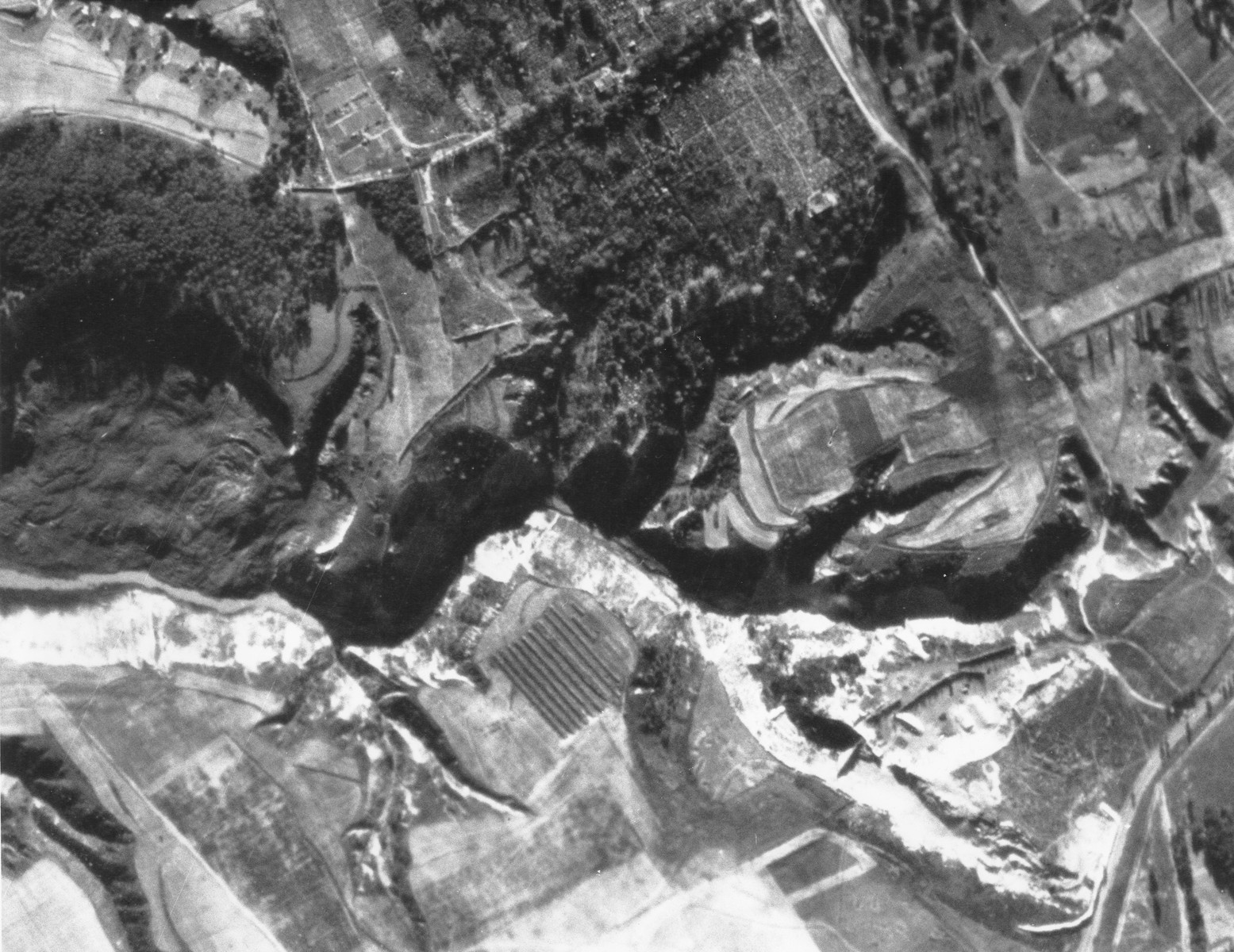 An aerial photograph of the Babi Yar ravine taken by the German air force.  [Oversized Print]