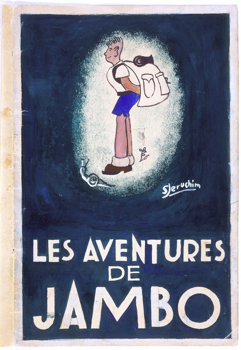 """The cover of an illustrated storybook entitled """"Les Aventures de Jambo"""" (The Adventures of Jambo) created by Simon Jeruchim for his brother Michel after the liberation of France."""