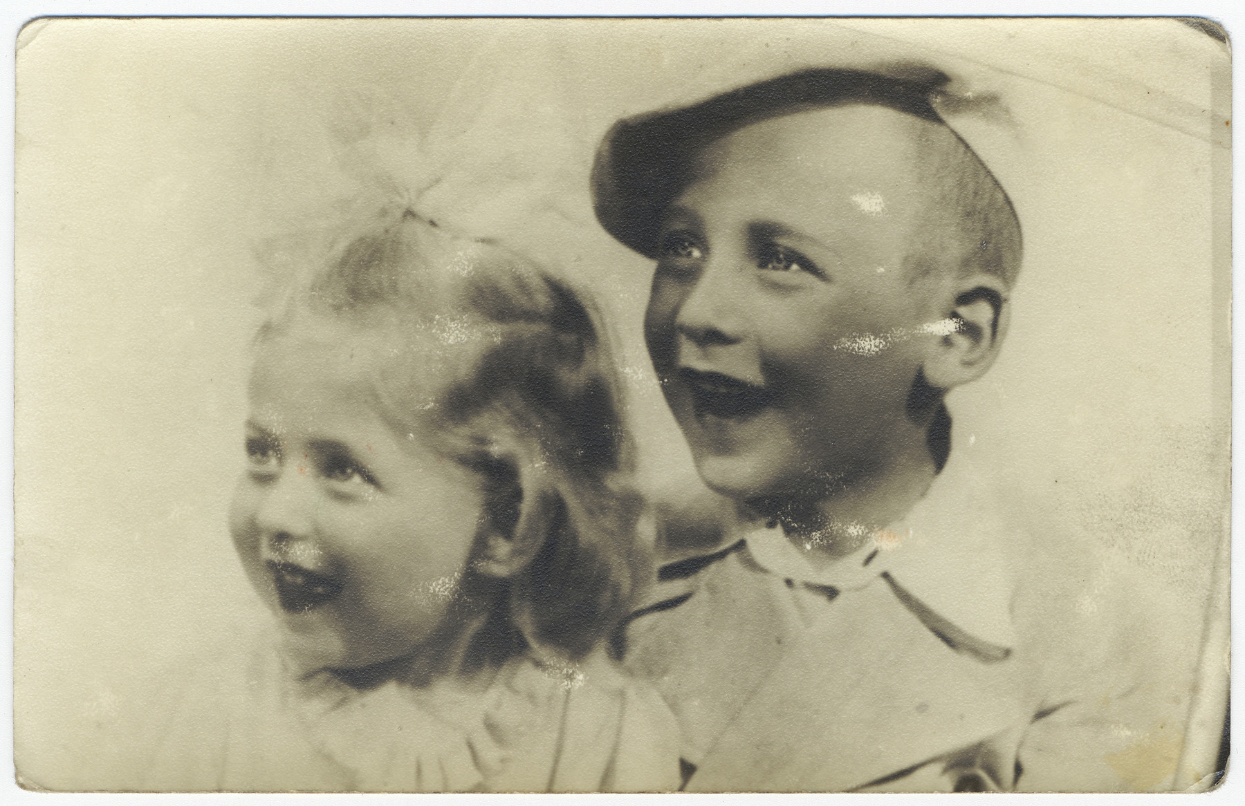 Portrait of two Jewish children who perished in the Holocaust.  Pictured are Gyorgy Freedman (b. 7/12/36) and his younger sister.  They are the children of the donor's stepfather.