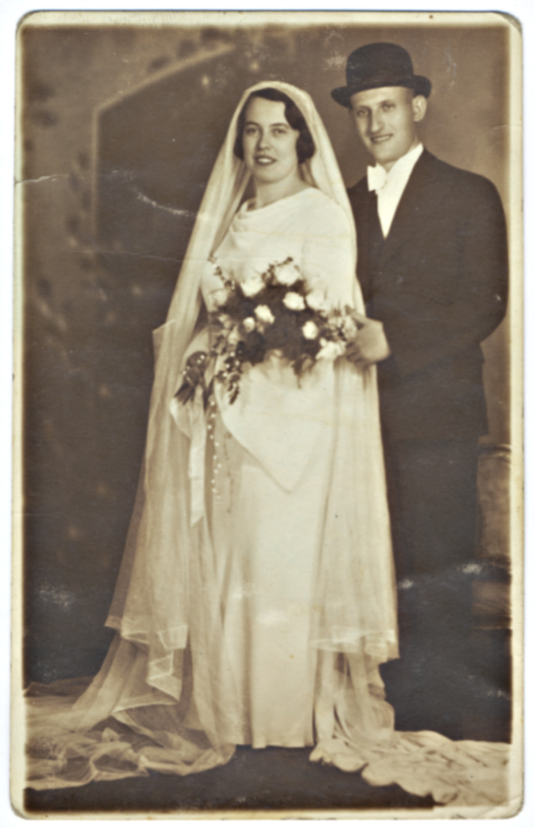 Wedding portrait of a Hungarain Jewish couple.  Pictured are Paula and Albert Freedman.