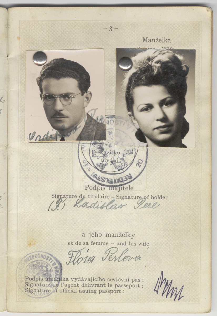 Passport issued to Flora and Ladislaw Perl prior to their immigration to the United States.