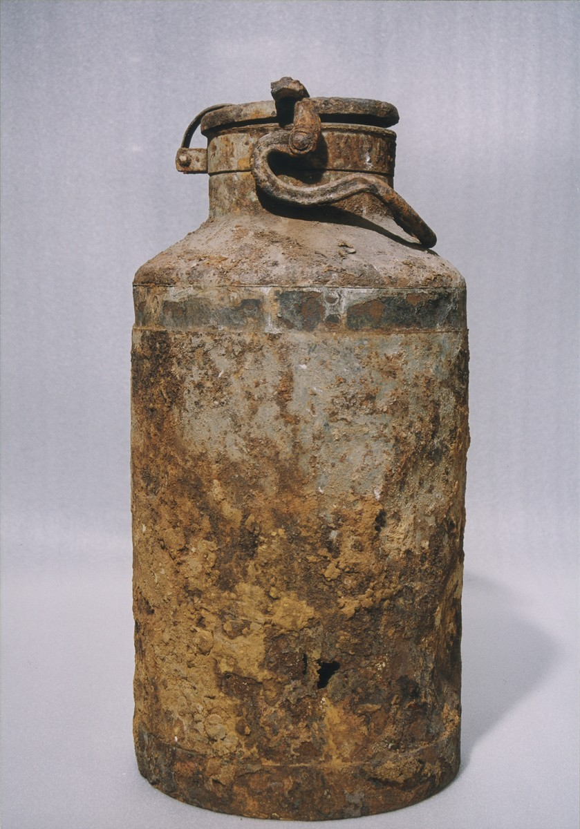 One of the two milk cans in which portions of the Ringelblum Oneg Shabbat archives were hidden and buried in the Warsaw ghetto.  The milk cans are currently in the possession of the Jewish Historical Institute in Warsaw.