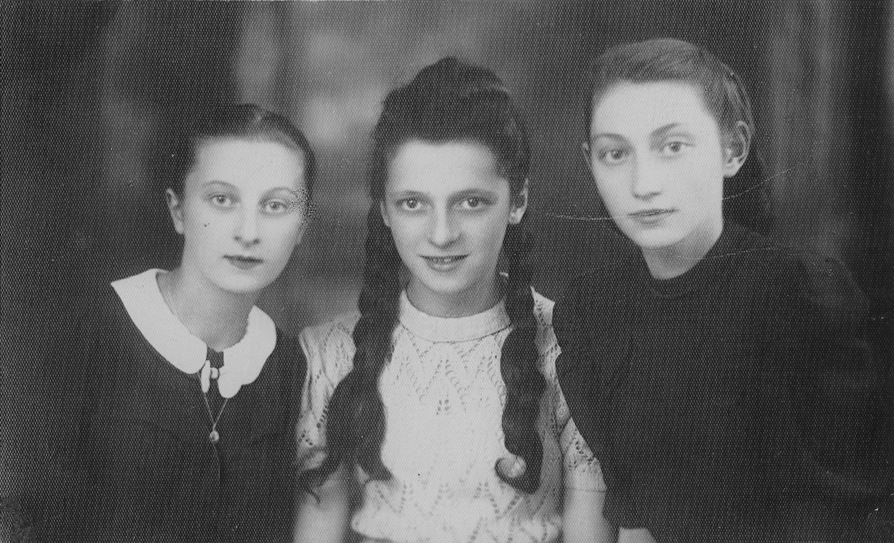 Portrait of three young Jewish women.    From left: Pola Rozen (the donor's niece); Ewa Strzegowska and Frania Magierkiewicz.  In August 1943 all three were deported to Auschwitz and perished there.