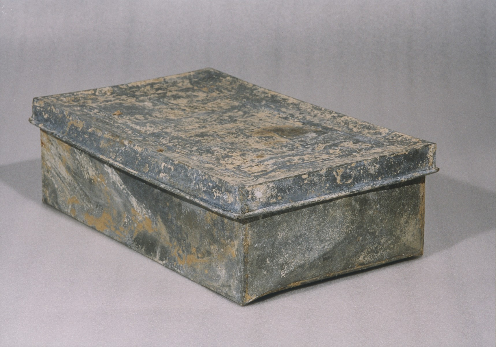 One of the ten metal boxes in which portions of the Ringelblum Oneg Shabbat archives were hidden and buried in the Warsaw ghetto.  The boxes are currently in the possession of the Jewish Historical Institute in Warsaw.