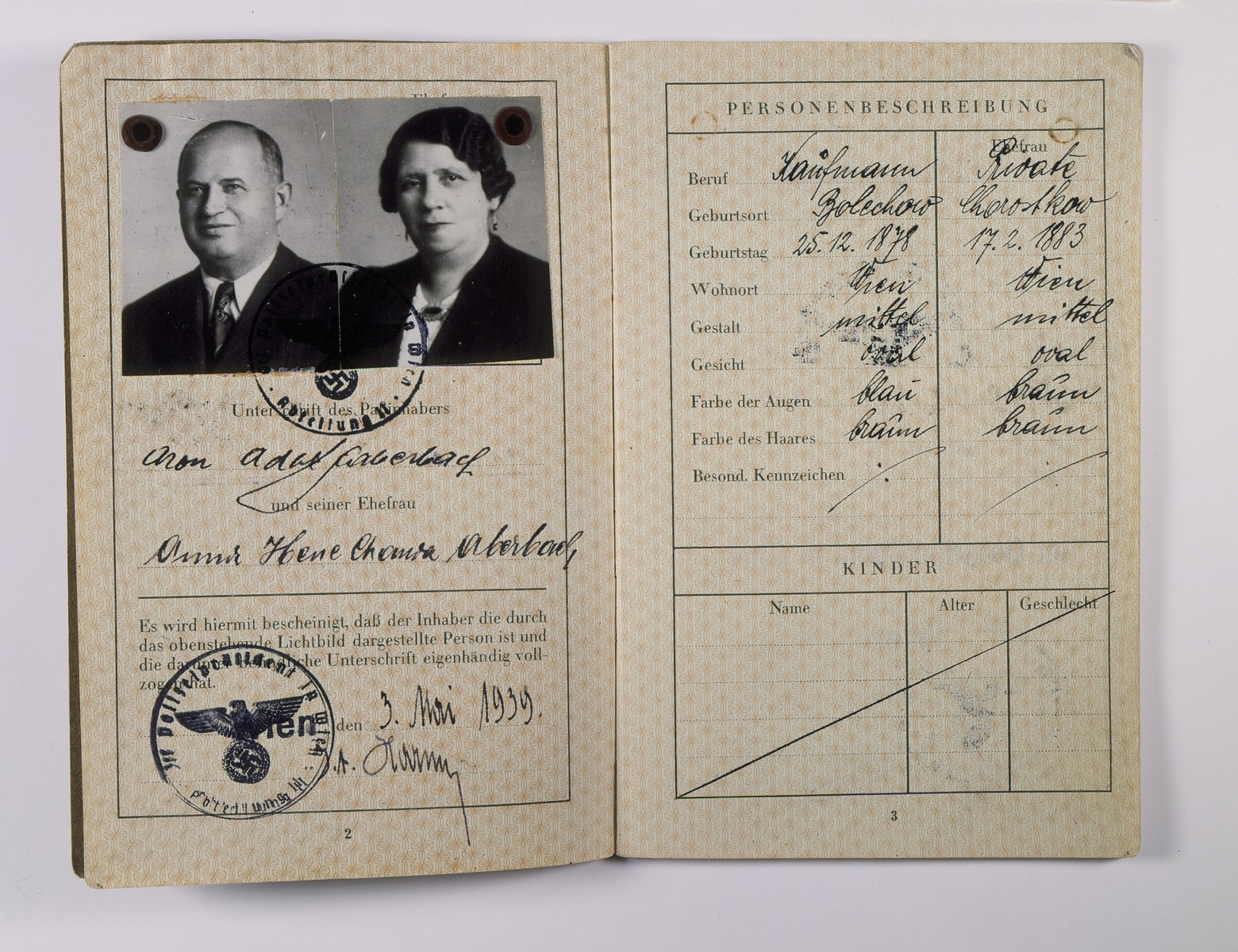 German passport issued to Viennese Jews, Adolf [Aron] Aberbach and his wife, Anna.