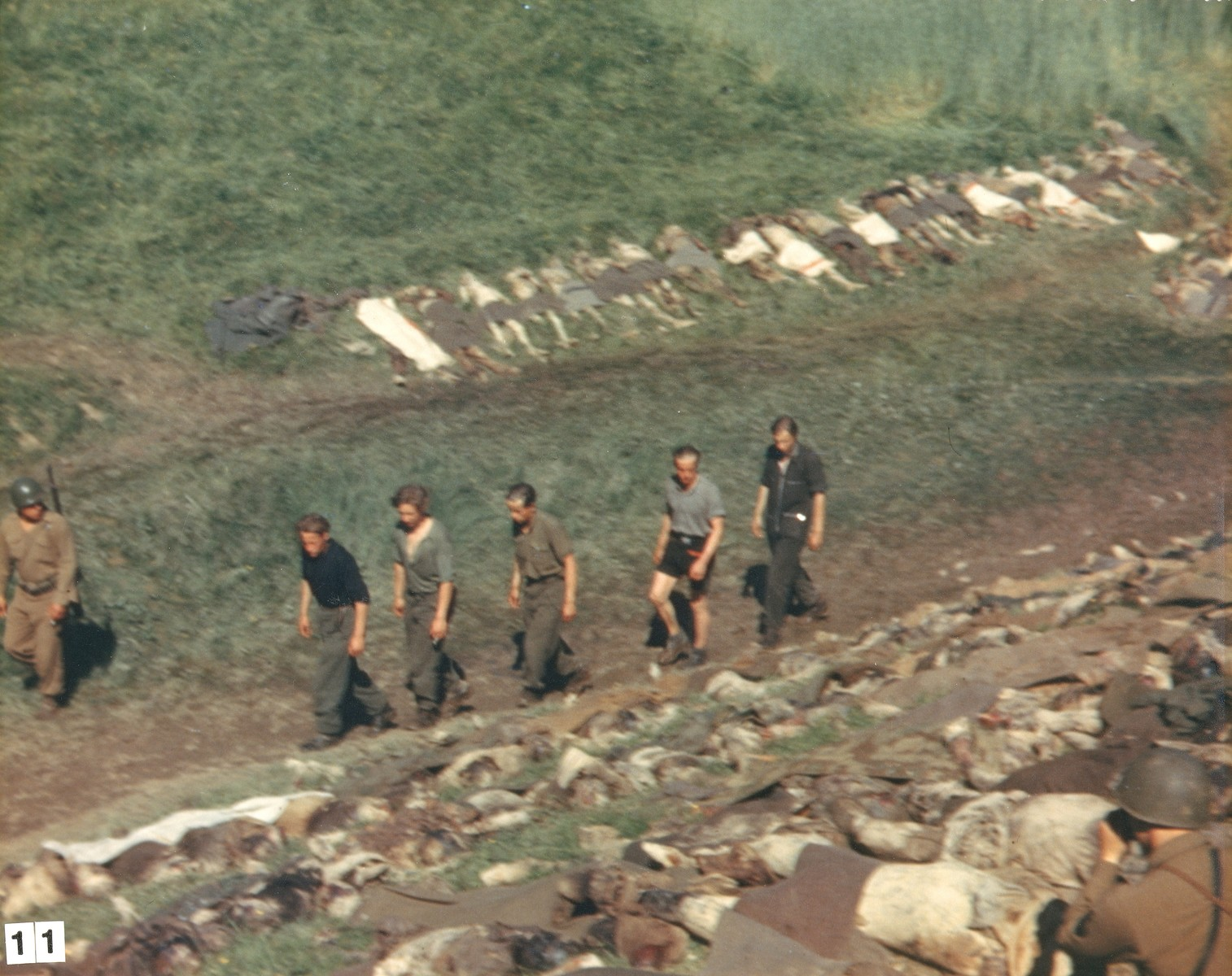 Five SS men in civilian clothing are forced to walk among the corpses of prisoners exhumed from a mass grave near Nammering.  The men had changed into civilian clothes in an unsuccessful attempt to evade capture.  According to the photographer, they were killed by U.S. troops just after this photo was taken.