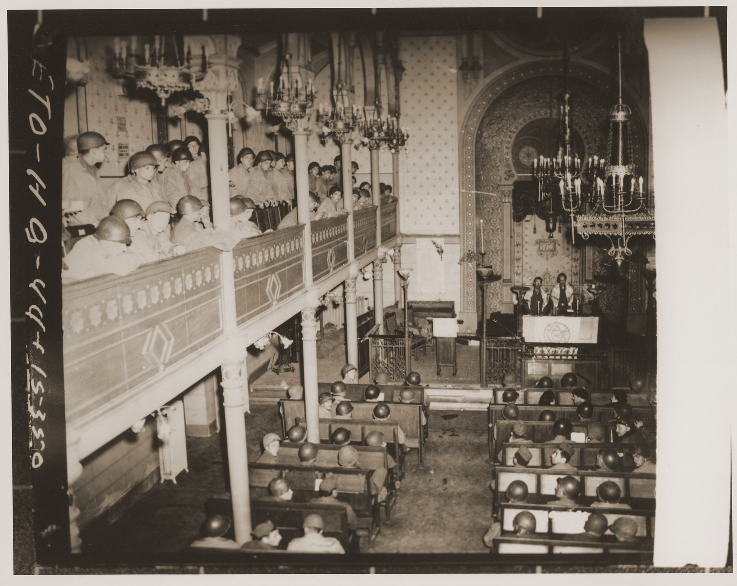 American-Jewish servicemen worship at a Rosh Hashanah service at the synagogue in Rheims.