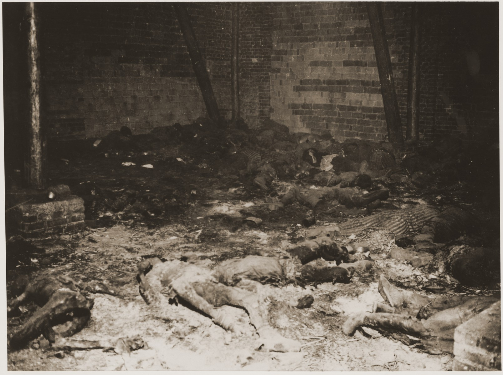 The charred bodies of prisoners who were burned alive in a barn outside of Gardelegen.