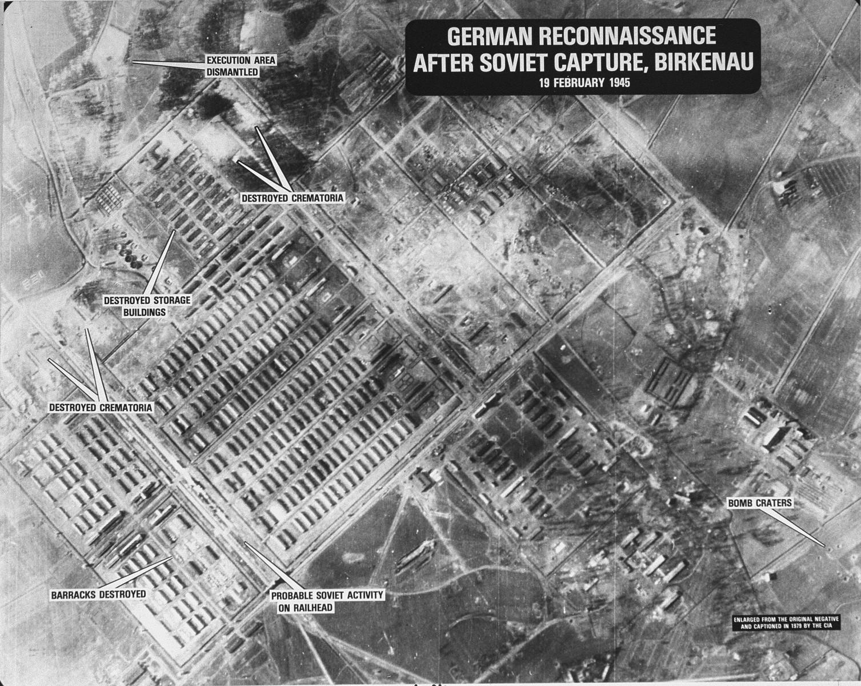 Aerial view: German reconnaissance after Soviet capture, Birkenau.
