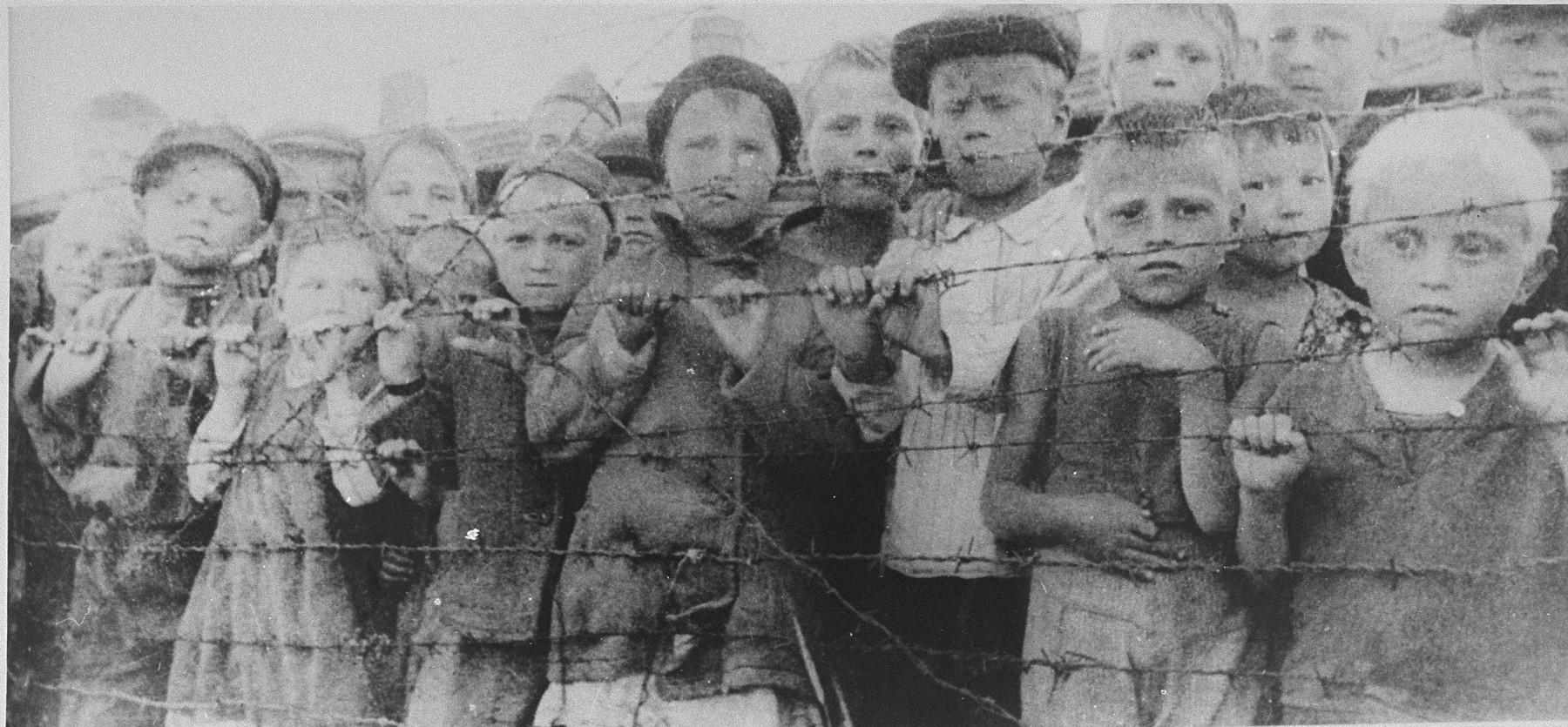 "Children taken from eastern Europe during the SS ""Heuaktion"" (Hay Action), and temporarily imprisoned in Auschwitz awaiting their transfer to Germany, look out from behind the barbed wire fence.  [The blonde boy at the lower right may be Kalman Cylberszac (b. 1934), the son of Rachel and Nachum Cylberszac from Lask, Poland.]"
