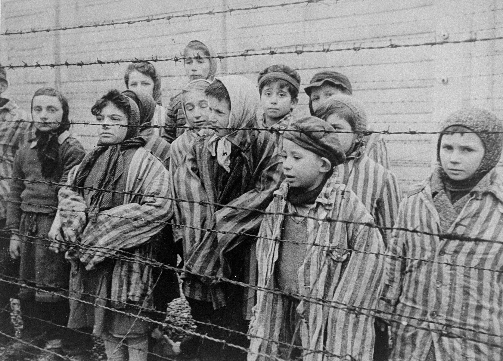 Child survivors of Auschwitz, wearing adult-size prisoner jackets, stand behind a barbed wire fence.  Among those pictured are Tomasz Szwarz; Alicja Gruenbaum; Solomon Rozalin; Gita Sztrauss; Wiera Sadler; Marta Wiess; Boro Eksztein; Josef Rozenwaser; Rafael Szlezinger; Gabriel Nejman; Gugiel Appelbaum; Mark Berkowitz (a twin); Pesa Balter; Rut Muszkies (later Webber); Miriam Friedman; and twins Miriam Mozes and Eva  Mozes wearing knitted hats.  STILL PHOTOGRAPH FROM THE SOVIET FILM of the liberation of Auschwitz, taken by the film unit of the First Ukrainian Front.