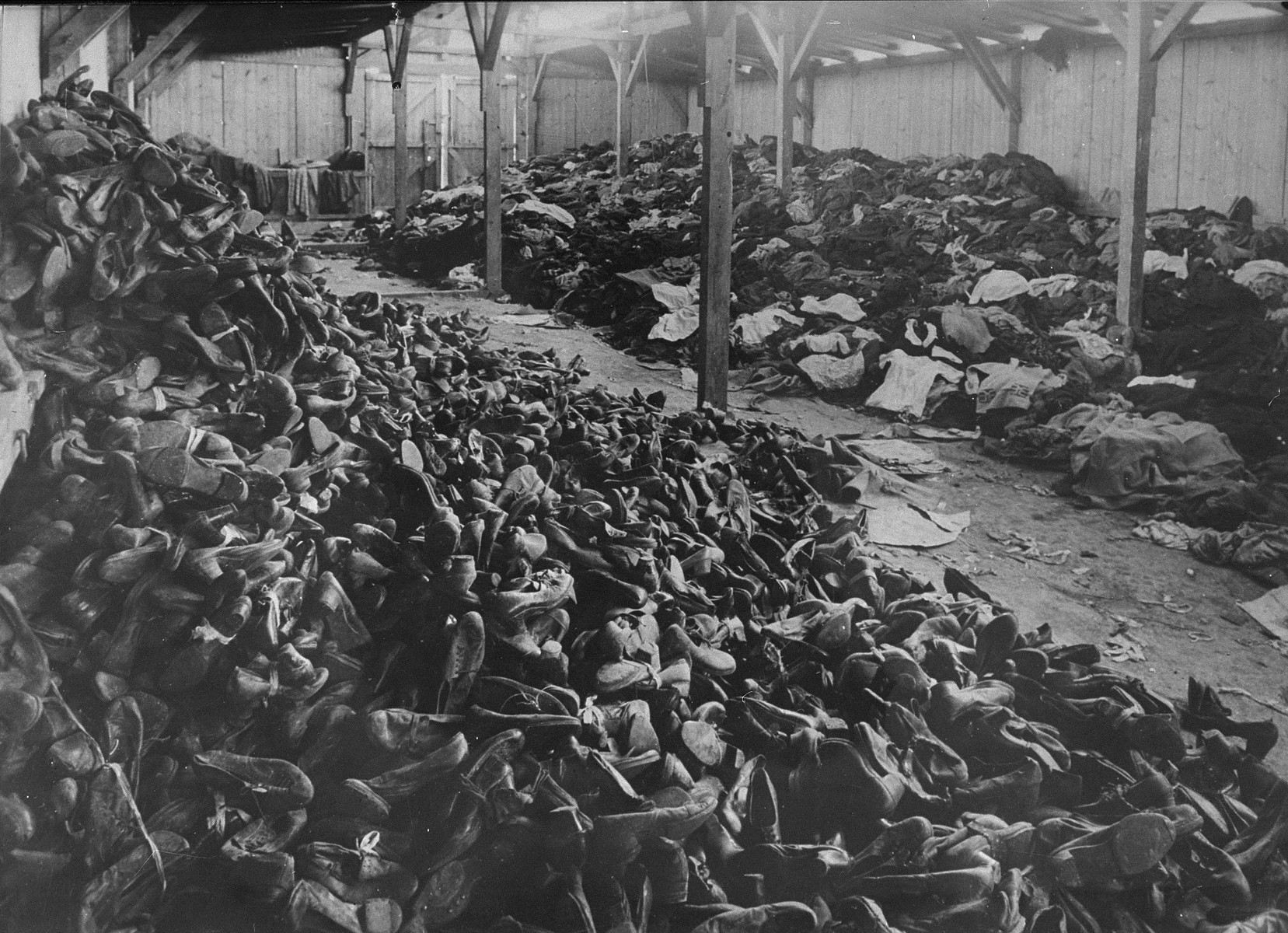 A warehouse full of shoes and clothing confiscated from the prisoners and deportees gassed upon their arrival. The Germans shipped these goods to Germany.   STILL PHOTOGRAPH FROM THE SOVIET FILM of the liberation of Auschwitz, taken by the film unit of the First Ukrainian Front.