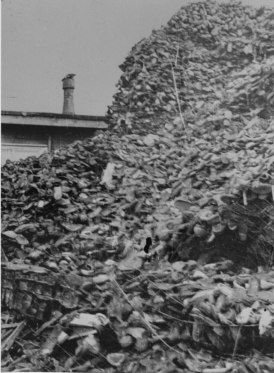 Piles of shoes stored in a warehouse in Auschwitz.