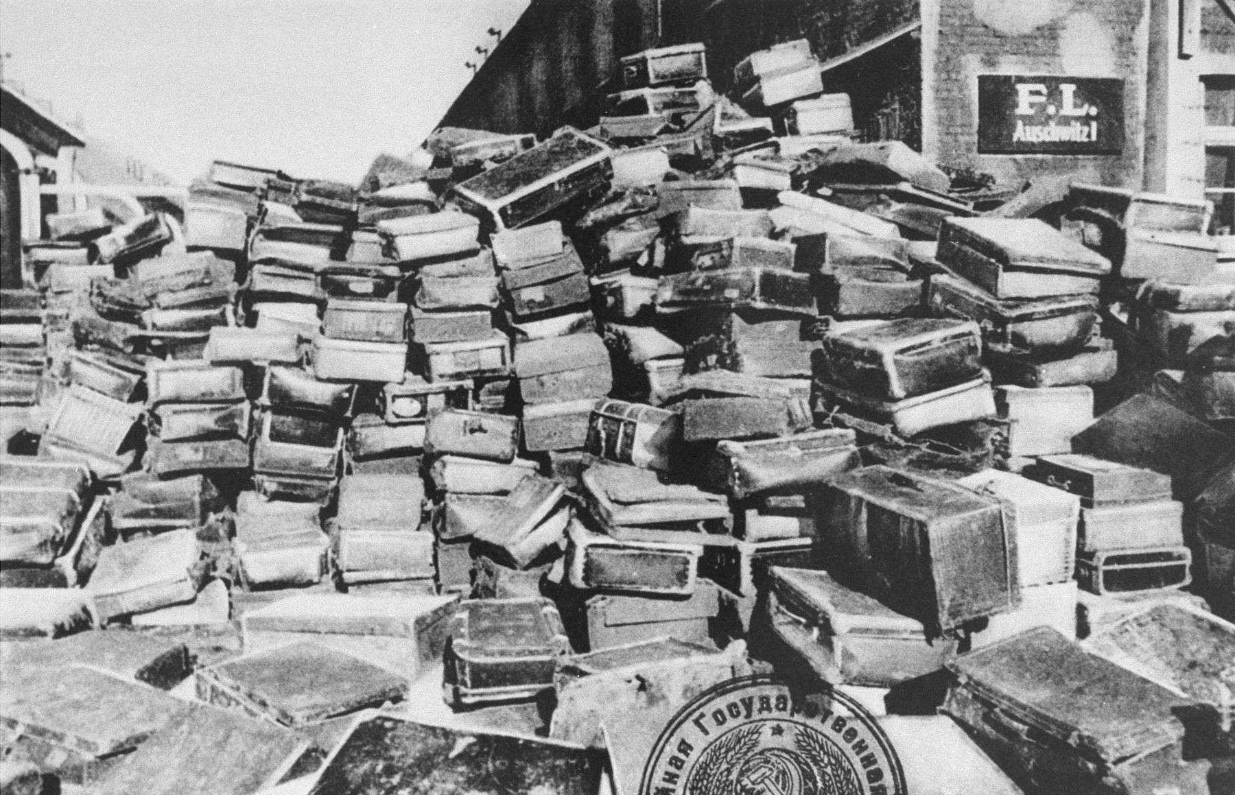 Suitcases of Auschwitz inmates (that were never shipped to Germany) found after liberation.