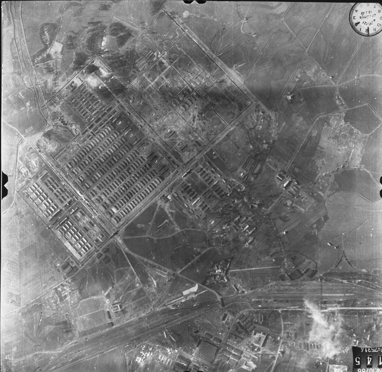 A German aerial photograph of the Auschwitz area.