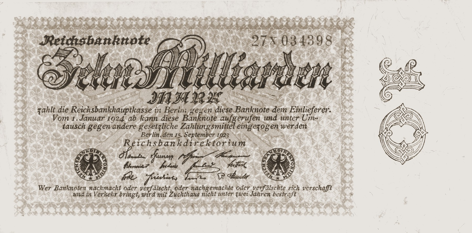 A ten million mark Reichsbanknote [paper currency] that was issued by the German national bank during the height of the inflation in 1923.