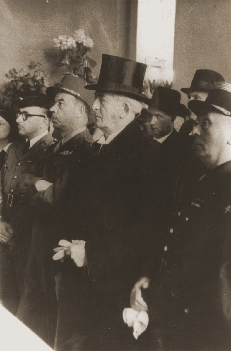 The Lord Mayor of Berlin and French General Lancon attend the dedication of the first Berlin synagogue to be re-opened after the war.  The synagogue was located on the fourth floor of the former Jewish home for the aged on the Iranischestrasse in the French sector.