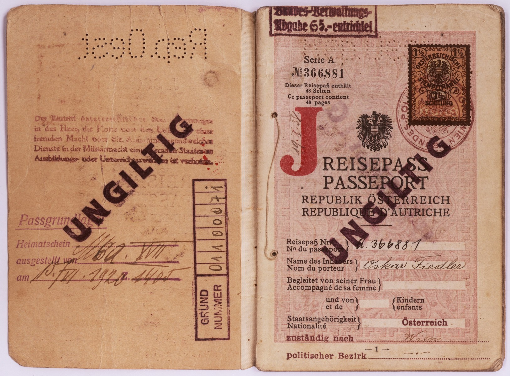 "Passport issued to Oskar Fiedler on June 15, 1920 in Vienna.  On  October 15, 1938 a stamp ""J""  was added to identify Mr. Fiedler as a Jew."