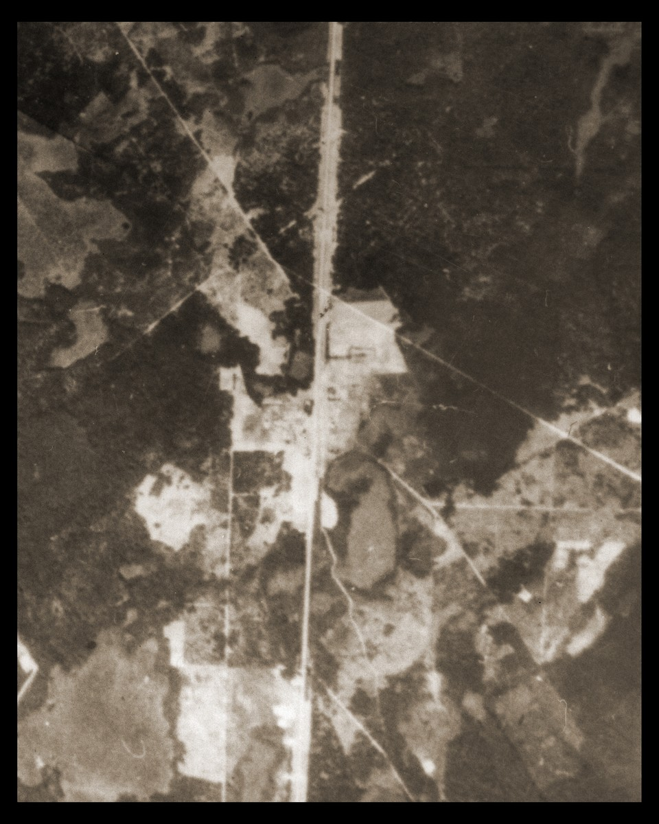 An aerial photo of the Sobibor area showing the camp and its immediate surroundings.
