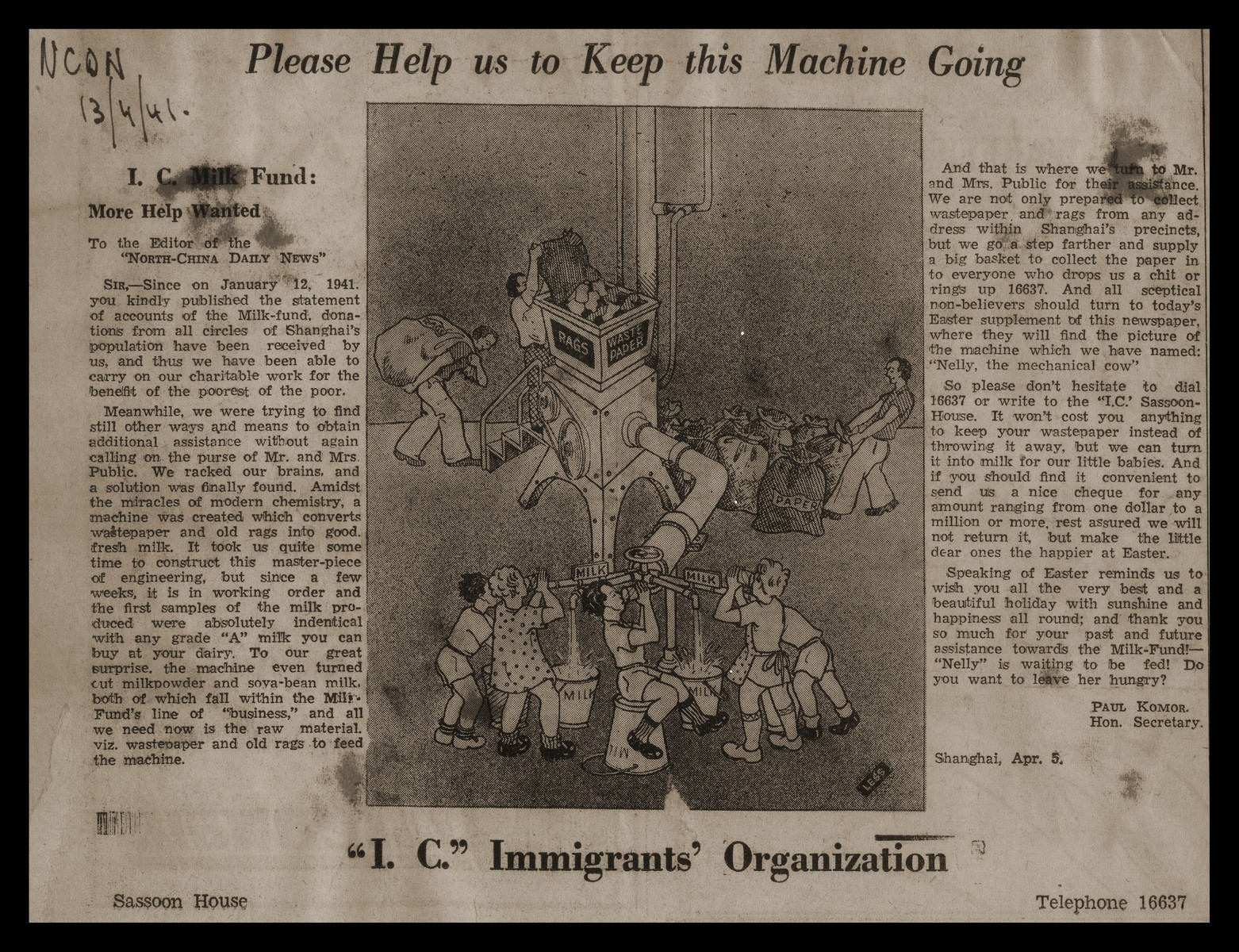 A cartoon and article from the North China Daily News soliciting donations for the International Committee for the Organization of European Immigrants in China.
