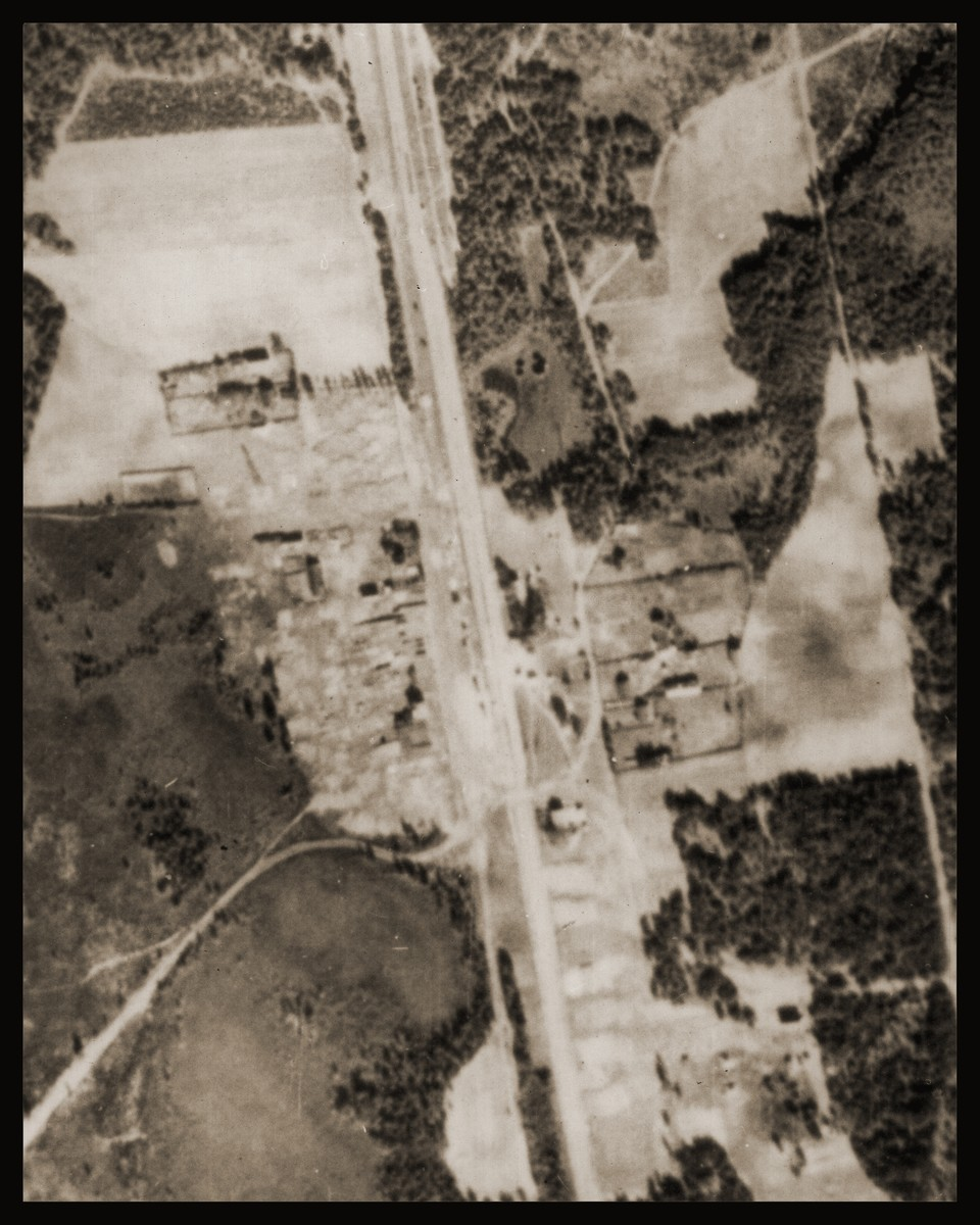 An aerial photo of the Sobibor area of Poland showing the camp and its immediate surroundings.