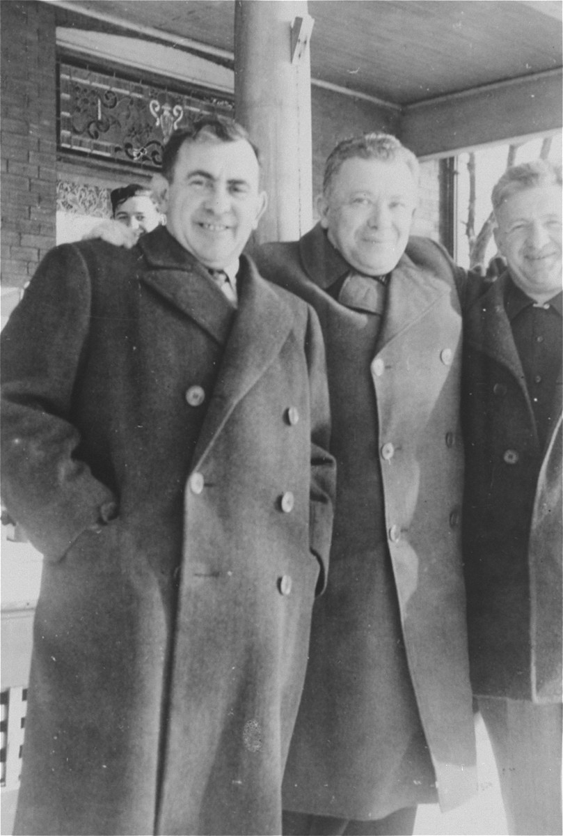 Reunion of the three Muller brothers on the farm in southern Ontario.  Pictured from left to right are Lajos, Gyula and Nandor Muller.  This was Gyula's first visit to Canada.  A short time later he emigrated to Canada with his wife and two children, settling in Niagara Falls.