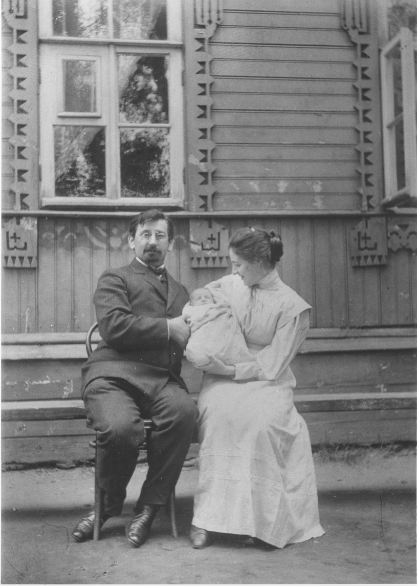 Portrait of Mark Maggid with his wife Maria and their oldest son Sasha, at their dacha in the village of Strelna, a suburb of St. Petersburg.